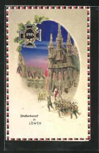AK Propaganda 1. Weltkrieg, Strassenkampf in Löwen, Halt gegen das Licht