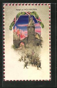 AK Propaganda 1. Weltkrieg, Kampf um Mühlhausen, Halt gegen das Licht