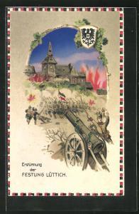 AK Propaganda 1. Weltkrieg, Erstürmung der Festung Lüttich, Halt gegen das Licht