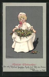 Künstler-AK Ethel Parkinson: Fröhliche Weihnachten, Mädchen mir Stechpalmenzweigen in der Schürze