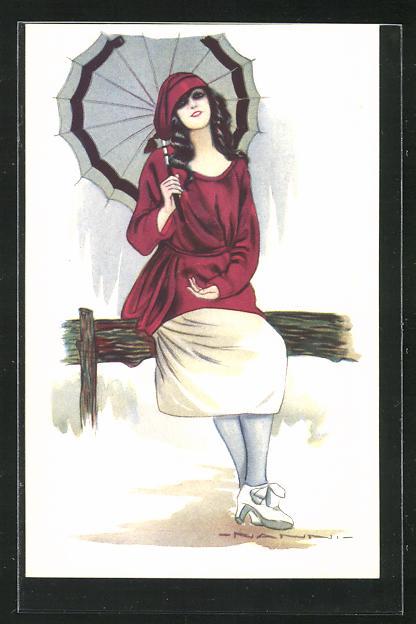 Künstler-AK Nanni: Dame mit Schirm sitzt auf einem Balken 0