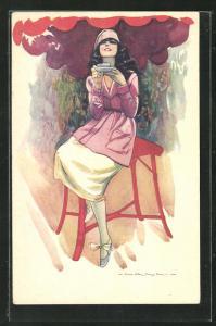 Künstler-AK Nanni: Frau mit einer Teetasse sitzt auf dem Hocker
