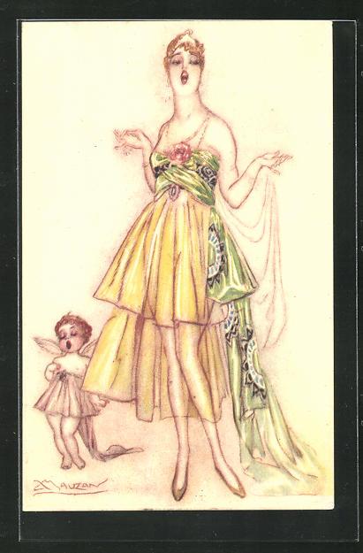 Künstler-AK Mauzan: Grosse Frau im luftigen Kleid neben einem Engel 0