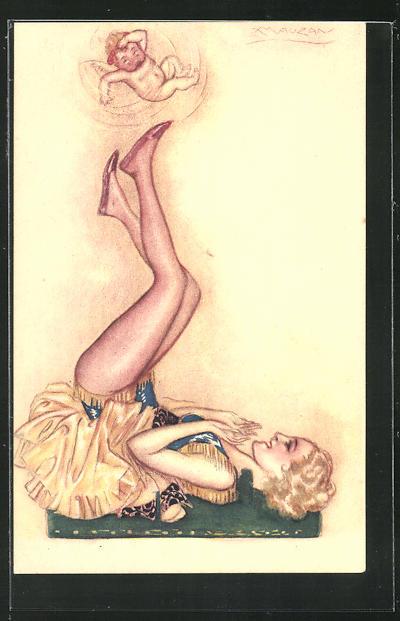 Künstler-AK Mauzan: Dame liegt auf dem Boden und spielt mit dem Engel 0