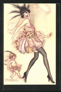 Künstler-AK Mauzan: Dame mit Haarschmuck im luftigen Kleid tanzt mit dem Engel