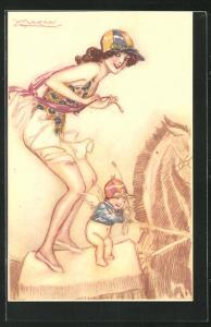 Künstler-AK Mauzan: Dame im luftigen Kleid mit einem Engel auf dem Schaukelpferd