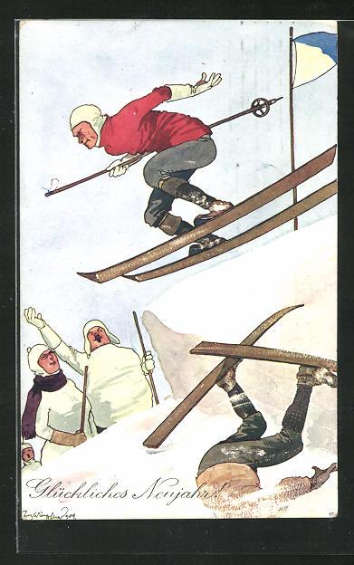 Künstler-AK Fritz Schönpflug: Rücksichtsloser Skifahrer auf der Piste wird umjubelt 0
