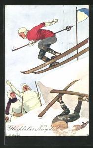 Künstler-AK Fritz Schönpflug: Rücksichtsloser Skifahrer auf der Piste wird umjubelt