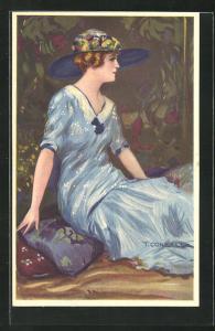 Künstler-AK Tito Corbella: Dame im langen blauen Kleid sitzt auf dem Boden auf einem Kissen