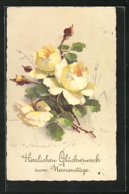 Künstler-AK Catharina Klein: Gelbe Blumen 0