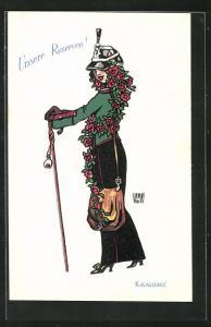 Künstler-AK sign. de Wamay: Unsere Reserven, Kavallerie, Soldatin mit Helm und Blumen