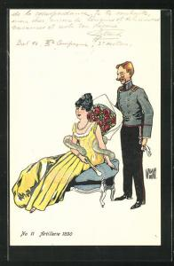 Künstler-AK sign. de Wamay: Artillerie 1890, Kavallerist überbringt Rosen an seine Liebste