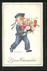 Künstler-AK Hannes Petersen: Junger Matrose mit einem Blumenstrauss