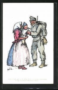 Künstler-AK sign. E. Orlik: österreichischer Soldat verabschiedet sich von seiner Frau und Tochter