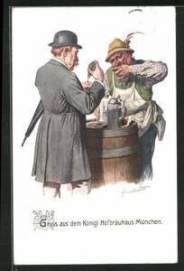 Künstler-AK Fritz Quidenus: München, Königl. Hofbräuhaus, Zwei Herren am Fass stehend trinken Bier