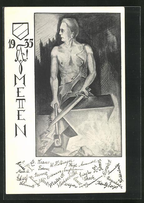 AK Metten, Absolvia 1935, Schmied am Amboss 0