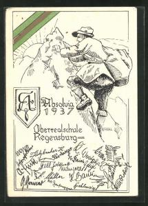 AK Regensburg, Absolvia 1937, Oberrealschule, Bergsteiger erklimmt den Gipfel