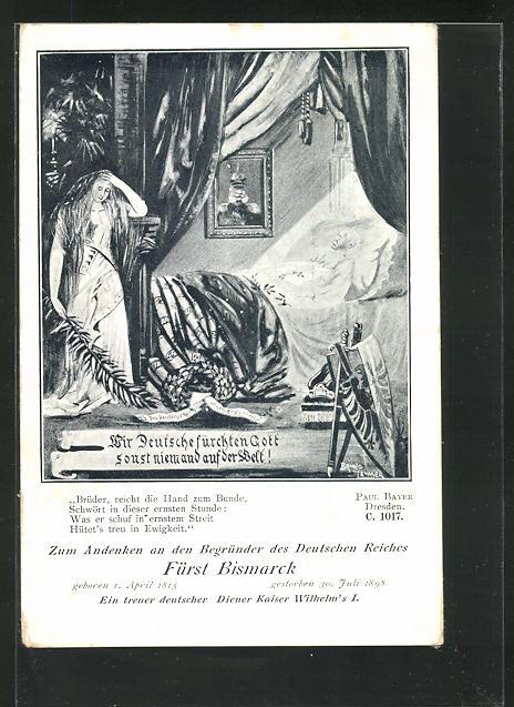 AK Fürst Bismarck auf dem Totenbett, Porträt Kaiser Wilhelm I. 0