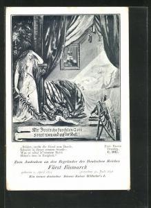 AK Fürst Bismarck auf dem Totenbett, Porträt Kaiser Wilhelm I.