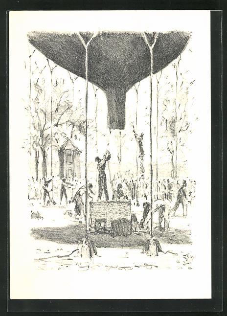 AK Bern, Ballonaufstieg 1954, Stempel der Ballonpost 0