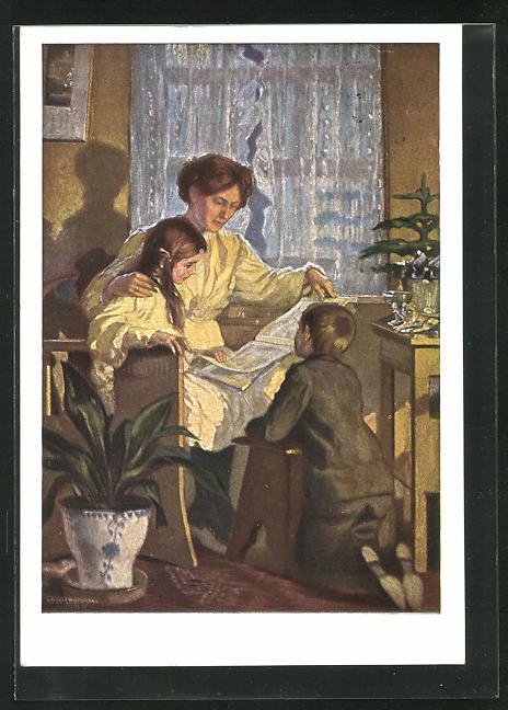 Künstler-AK Ernst Liebermann: Mutter liest mit ihren Kindern in einem Buch 0