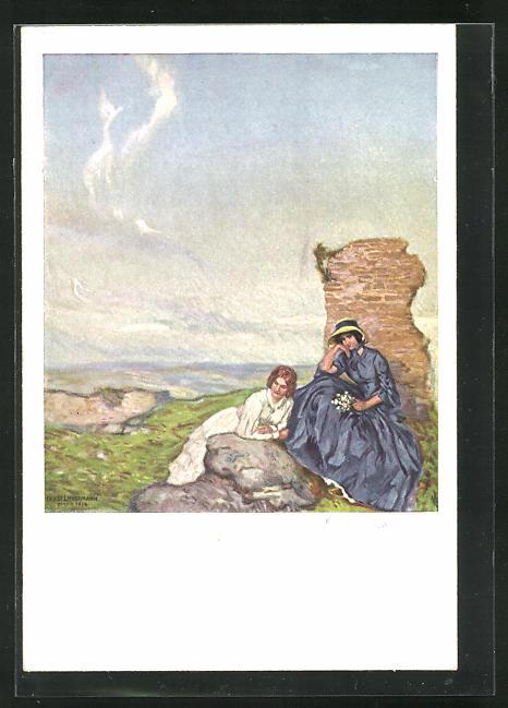 Künstler-AK Ernst Liebermann: Zwei Frauen sitzen auf einem Felsen auf einem Hügel 0