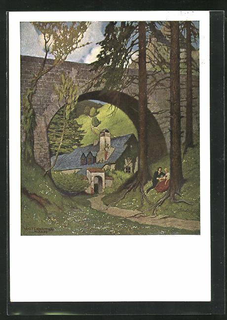 Künstler-AK Ernst Liebermann: Pärchen sitzt unter einer Brücke am Ortsrand 0