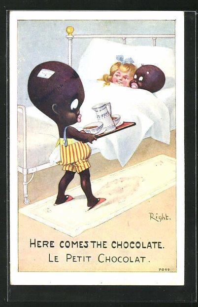 Künstler-AK Right: Here comes the Chocolate, Afrikanischer Junge bringt Pärchen Kakao ans Bett 0