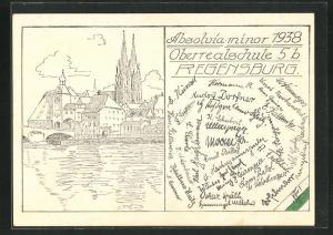 AK Regensburg, Absolvia minor 1938, Oberrealschule 5b, Unterschriften der Schüler