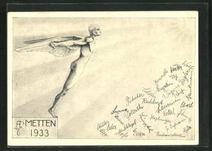 AK Metten, Absolvia1933, Mann mit Flügeln, Unterschriften der Schüler