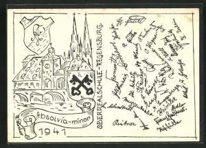 AK Regensburg, Absolvia minor 1914, Oberrealschule u. Wappen, Unterschriften der Schüler