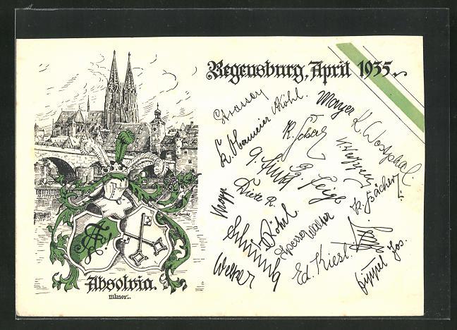 AK Regensburg, Absolvia 1935, Oberrealschule u. Wappen, Unterschriften der Schüler 0