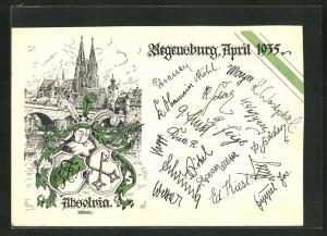 AK Regensburg, Absolvia 1935, Oberrealschule u. Wappen, Unterschriften der Schüler