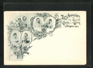 Passepartout-AK Darmstadt, Besuch von Zarin und Zar Nikolaus II von Russland 1896