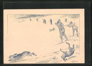 AK Jäger schiessen auf Hasen