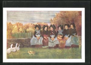 Künstler-AK sign. C. Spindler: Petits Canards, Frauen in Trachten schauen Gänsen zu