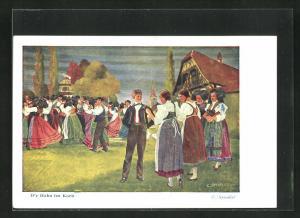 Künstler-AK sign. C. Spindler: D`r Hahn im Korb, Männer und Frauen beim Tanz