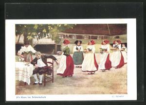 Künstler-AK sign. C. Spindler: D`r Hans im Schnokeloch, Mann am Gartentisch wird bedient
