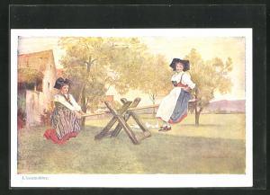 Künstler-AK sign. C. Spindler: L`escarpolette, Frauen in Trachten auf einer Wippe