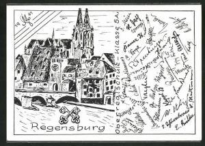 AK Regensburg, Absolvia 1941, Oberrealschule, Klasse 5 A, Unterschriften der Schüler