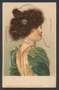 Echt-Haar-AK Junge Dame mit Hochsteckfrisur
