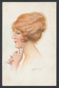 Künstler-AK sign. J. H. Reading: Junge Dame mit blonden Haaren und Fingerring