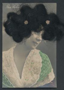 Echt-Haar-AK Portrait Thea Gelan mit schwarzen Haaren