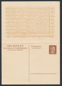 Klapp-AK Berlin, Infla, Übersicht der wesentlichsten Portosätze von 1914 bis 1922, Ganzsache, PP 153 B1 /01
