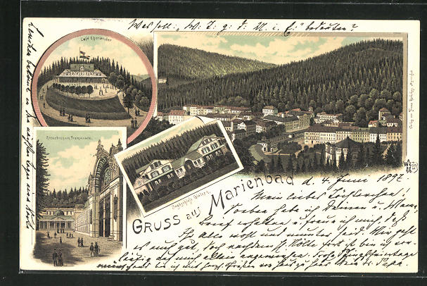Lithographie Marienbad, Cafe Egerländer, Jagdschloss Glatzen 0