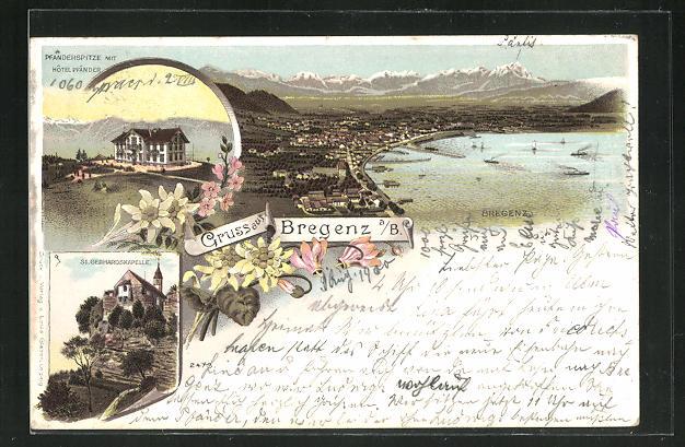 Lithographie Bregenz, Hotel Pfänder auf der Pfänderspitze, Blick auf die Stadt 0