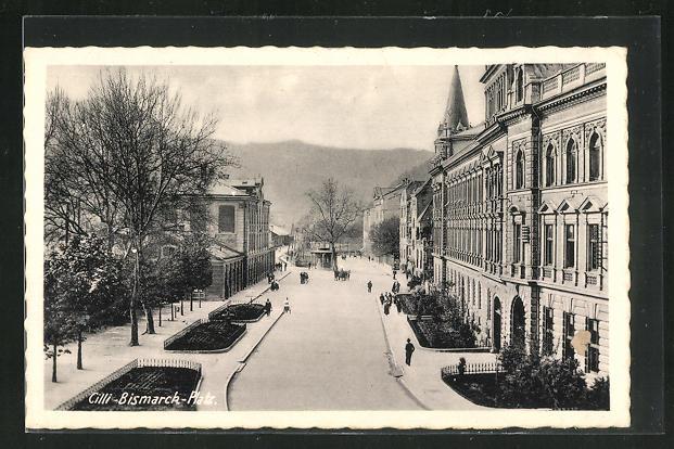 AK Celje / Cilli, Strassenpartie am Bismarck-Platz 0