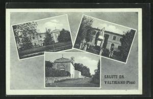 AK Valtriano, Strassenpartie an der Kirche, Kriegerdenkmal