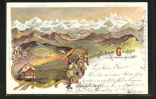 Lithographie Kitzbühler Horn, Berghütte, Blick auf die Grossglockner Gruppe 0