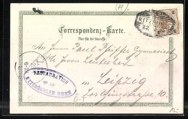 Lithographie Kitzbühler Horn, Berghütte, Blick auf die Grossglockner Gruppe 1